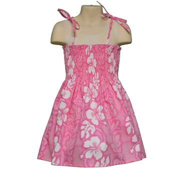 KY's Pink with White Hibiscus Girls Dress