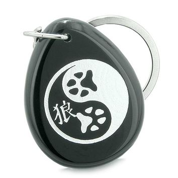 Amulet Wolf Paw Yin Yang Magic Kanji Spiritual Balance Powers Black Onyx Totem Keychain Ring