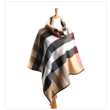 Pashmina Cashmere Shawl Ponchos and Capes Fall 2017 Scarves and Stoles Large Shawls for Woman Plaid Poncho Blanket Scarf