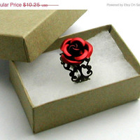 Red Rose Ring Adjustable Victorian Filigree in by CrofootDesigns