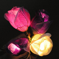 20 white purple shaded  rose flower string light decoration wedding party decor bed room light night light