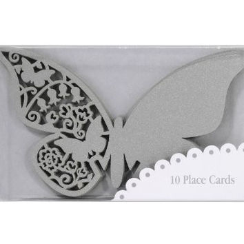 TALKING TABLES SOMETHING IN THE AIR SILVER 10-Pack Butterfly Place Cards
