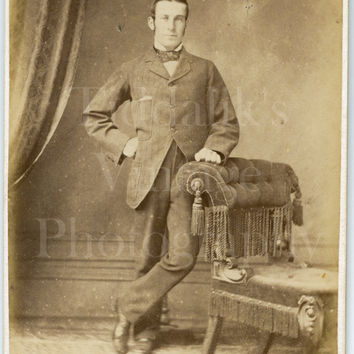 CDV Carte de Visite Photo Victorian Handsome Dapper Man, Bow Tie Hand on Hip Portrait - E & G Inggs of Winchester Hampshire - Antique Photo