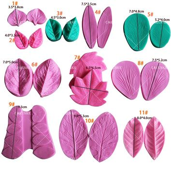 All Purpose Leaf Veiner Silicone Double Side Veiner Flower Cutter Cake Decorating Moulds Cookie Mould