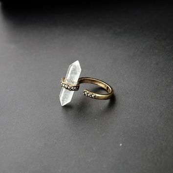Quartz Crystal Gold Gypsy Ring