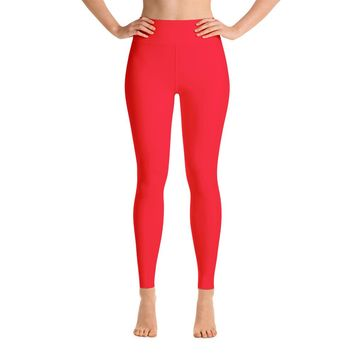 Solid Red Yoga Leggings