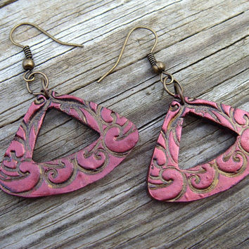 Triangle Earrings  Red and Bronze  Polymer Clay by JustClayin