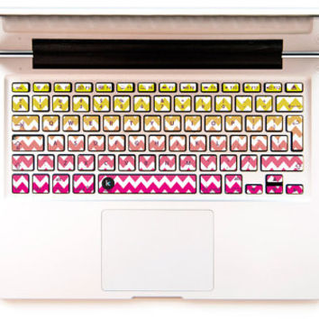 Spring Chevron - Decal Keyboard Sticker for Macbook Lenovo Asus Sony Dell HP Acer Samsung Toshiba Yellow Pink Zigzag