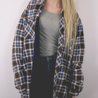 Vintage Brown Navy Button Up Lined Flannel Jacket