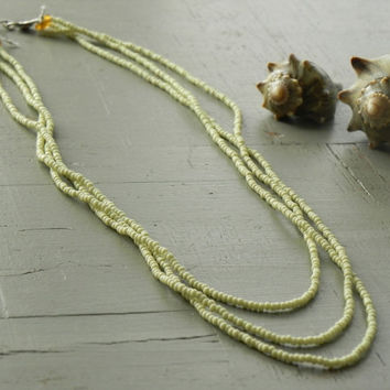 Multistrand Pale Green Glass Beaded Necklace // Rustic Tribal Jewelry // Bohemian Necklace
