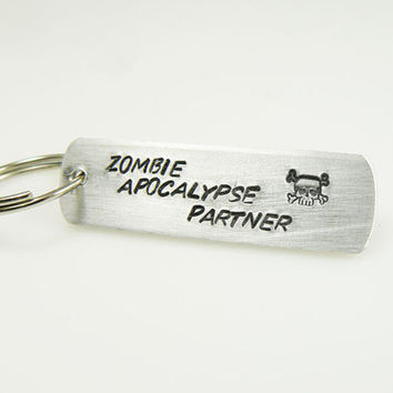 Zombie Keychain Zombie Apocalypse Partner  The Walking Dead Undead Jewelry Hand Stamped