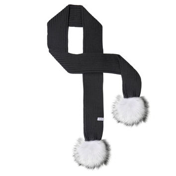 LUX FUR POM SCARF BLACK WITH WHITE FUR