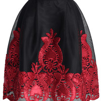 Red Flower Embossed Mesh Tulip Skirt Red