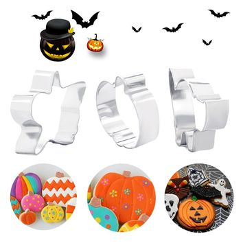 Stainless Steel Cake Cookie Cutters Stencils Halloween Series Pumpkin Cats Shape Biscuit Confeitaria Mold 3pcs/set