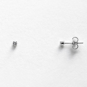 The Tiniest Gem Stud Earrings -  1.5mm / 2mm Sterling Silver Natural White Topaz - Simple Minimalist Everyday Jewelry LITTIONARY