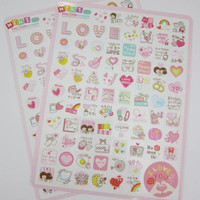 Two sheets Korean love stickers