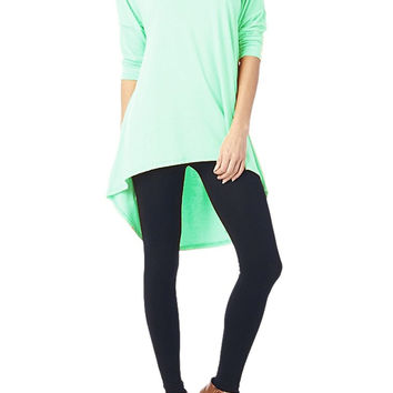 82 Days Women'S Rayon Span Plus To Regular High & Low Tunic with 3/4 Sleeves - Solid