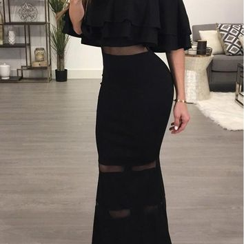 Black Bandeau Ruffle Grenadine Backless Mermaid Off Shoulder Bodycon Party Maxi Dress