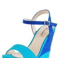 Haley01 Color Block Ankle Strap Wedges TURQUOISE