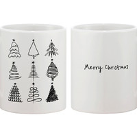 Merry Christmas Tree Collection Mug - X-mas Coffee Cups Holiday Gift Idea