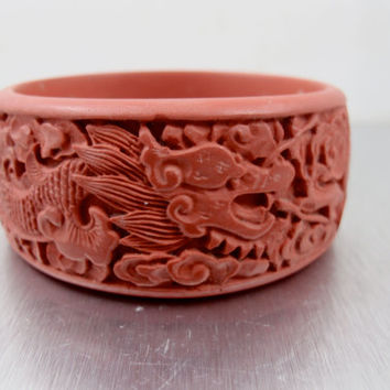 Antique Chinese Cinnabar Bracelet, Deeply Carved Dragon Flowers Vines, Wide Carved Cinnabar Bangle Bracelet, Vintage 1930s Chinese Jewelry,