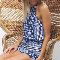 Blue Boho Romper Playsuit
