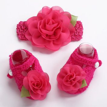 Newborn photo props girls Crochet baby shoes Flower knitted headband set,Baby shoes w