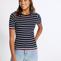 Striped Short Sleeve Round Neck Jumper | M&S