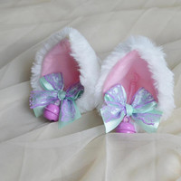 Premade Kitten play clip on cat ears with ribbon bows and bell - neko lolita cosplay costume - kitten play gear accessories - white and pink