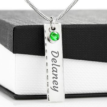 Personalized Name Necklace with Birthstone Crystals|Valentine Gift for Her