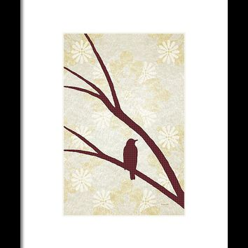 Rustic Bird Art Dark Red Bird Silhouette Framed Print