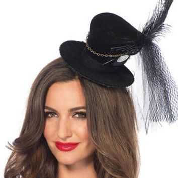 MDIGH3W Steampunk velvet top hat with chain and feather accent in BLACK