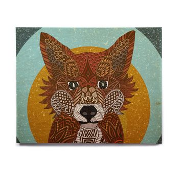 "Art Love Passion ""Colored Fox"" Blue Orange Birchwood Wall Art"
