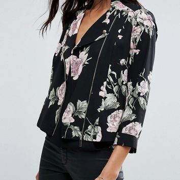 River Island Jersey Biker Jacket In Floral Print at asos.com