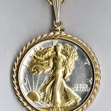 Gorgeous 2-Toned Gold on Silver U.S. Walking Liberty half dollar Necklaces