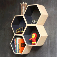Gray Hexagon Bookshelf