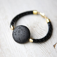 Black Lava on Leather Cord Bracelet by pardes israel