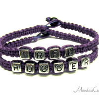 Tree Hugger Bracelets, Set of Two, Royal Purple Hemp Jewelry for Environmentalists and Nature Lovers