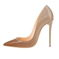 Coffee Studded Stiletto Pumps