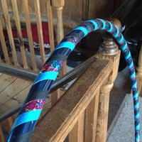 "44"" Beginner Dance Hula Hoop - Collapsible Excercise Hoola Hoop - Tie-dye and blue deco tape, blue and black grip PLEASE READ DESCRIPTION"