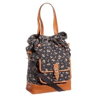 Heritage Black Ditsy Floral Canvas Tote