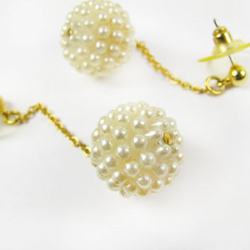 Vintage Faux Pearl Earrings / Vintage Wedding Earrings - Boucles d'Oreilles.