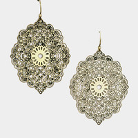 Floral Filigree Dangle Earring - Burnished Gold
