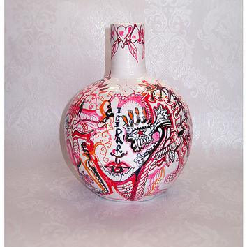 ART Vase, Abstract Art, Home Decor, Hand Painted, tattoo, pink and red, Face, Original,  Pottery Vase, Ready to Ship - Handmade by JOjoe