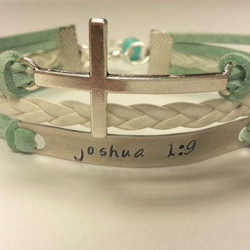 Scripture Bracelet, Bible Verse Bracelet, Hand Stamped Cross Bracelet feat. Custom Scripture - Choose Your Color!