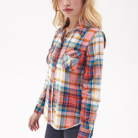 FOREVER 21 Classic Woven Plaid Shirt Coral/Teal