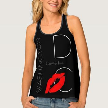 Greetings from Washington D.C. Red Lipstick Kiss Tank Top