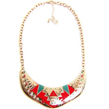 Tribal/Hieroglyphic Enamel Choker Chain Necklace
