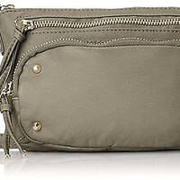 Wild Pair Womens Gray Western Crossbody Washed Sling Faux Leather Handbag Purse
