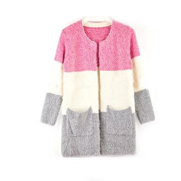 New Winter Spring wool Patchwork Pocket Cardigans Women Fashion Mohair Sweater Casual Long Women Sweaters 70048